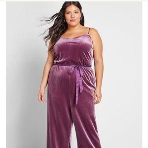 ModCloth Gorgeous Velvet Purple Jumpsuit 3x